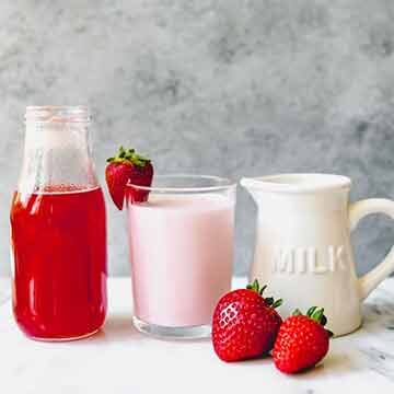 Homemade strawberry milk by House of Nash Eats