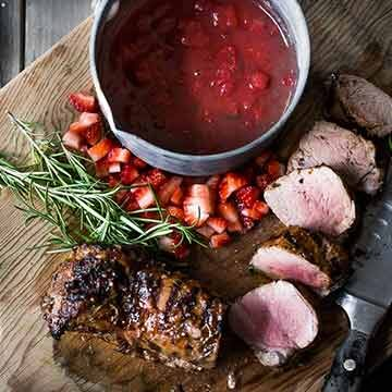 Grilled balsamic pork tenderloin with savory strawberry compote