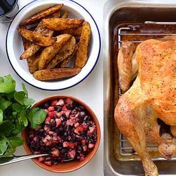 roast chicken with black bean & strawberry salsa