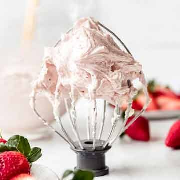 Fresh strawberry buttercream frosting recipe by House of Nash Eats