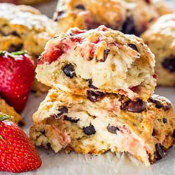 Strawberry chocolate chip scones by Jo Cooks