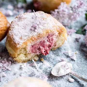 Strawberry & vanilla cream donuts with lilac sugar recipe by Half Baked Harvest