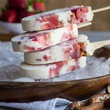 Strawberry pretzel yogurt popsicles recipe by Baking a Moment