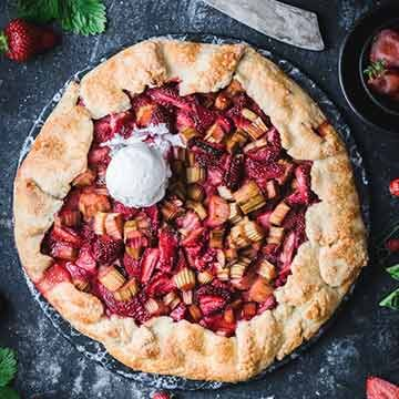 strawberry rhubarb galette with elderflower, recipe by Use Your Noodles