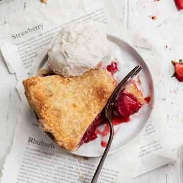 Strawberry rhubarb pie by Broma Bakery
