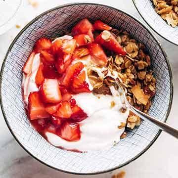 Strawberry shortcake yogurt bowls by Pinch of Yum
