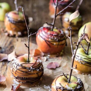 caramel apples with chocolate - recipe by Half Baked Harvest