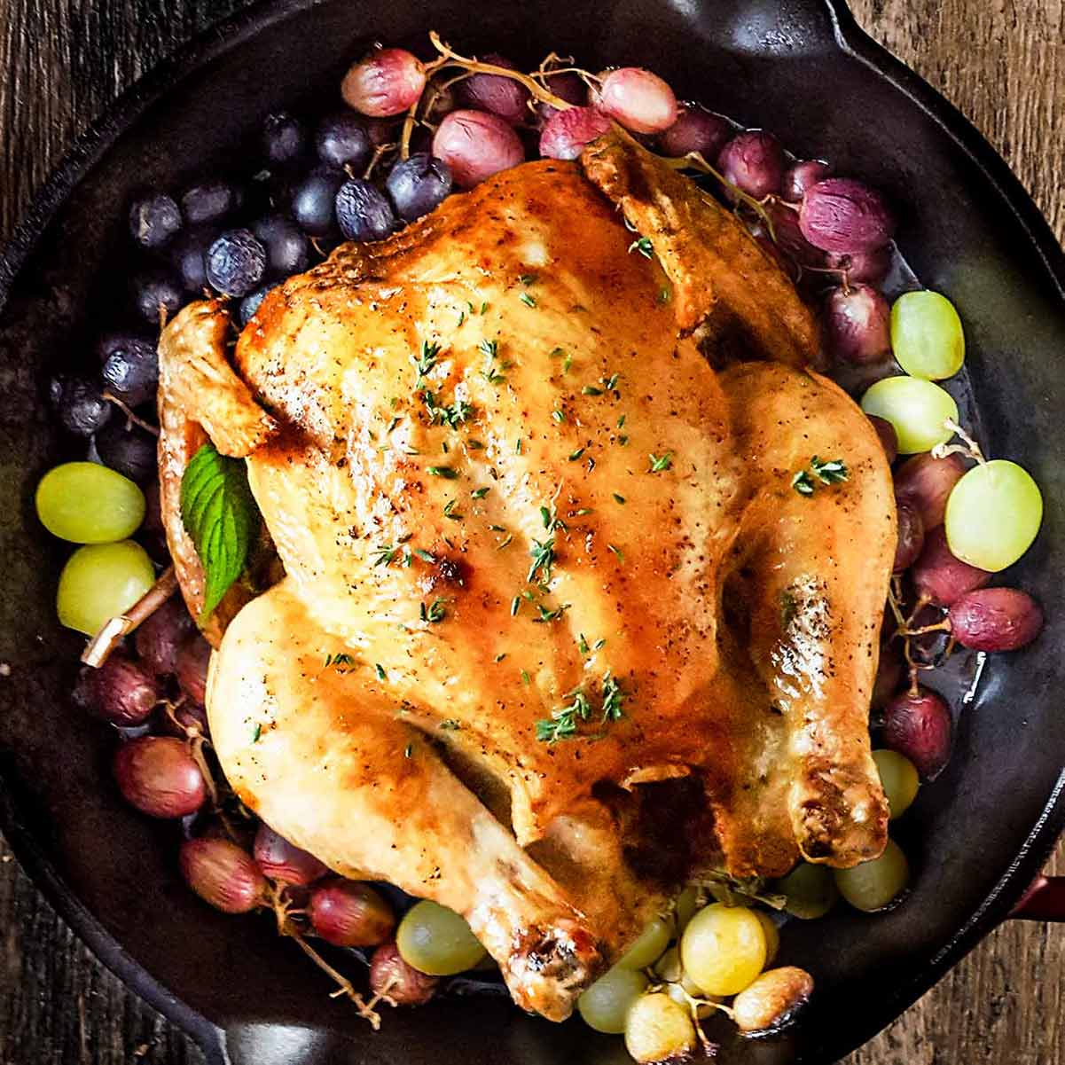 Roasted chicken with grapes, perfect for September