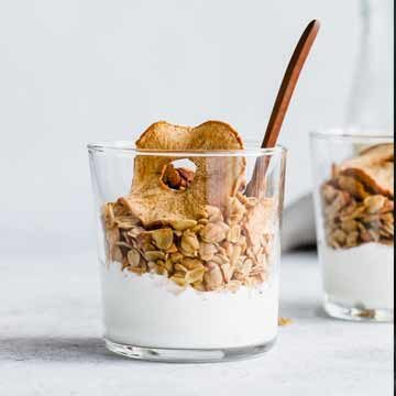 Apple pie granola with apple chips, recipe by Choosing Chia