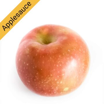 A McIntosh apple, great for applesauce