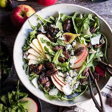 Bacon-wrapped fig and honeycrisp apple salad with salted caramel pecans by Half Baked Harvest