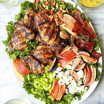 Chicken harvest salad with bacon, apples, figs, and almonds by Damn Delicious
