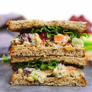 Chickpea salad sandwich with grapes and walnuts recipe by Rhubarbarians