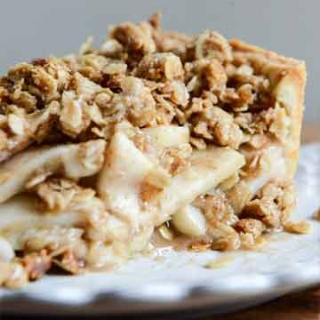 Cider bourbon apple pie with oatmeal cookie crumble recipe by How Sweet Eats