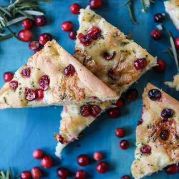 Cranberry brie focaccia recipe by How Sweet Eats