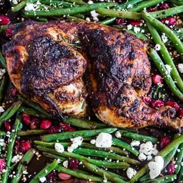 Sheet pan cranberry balsamic chicken and green beans by Nutmeg Nanny