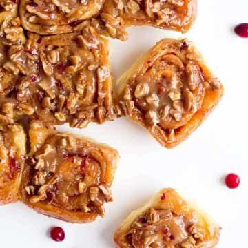 Triple-glazed cranberry pecan sticky buns recipe by Broma Bakery