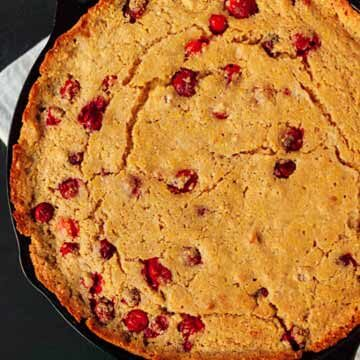 Cranberry-maple skillet cornbread recipe by Cookie + Kate