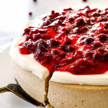 Eggnog cheesecake with cranberry topping by Carlsbad Cravings