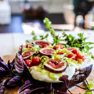 Baked eggplant with California figs & leeks by G-Free Foodie