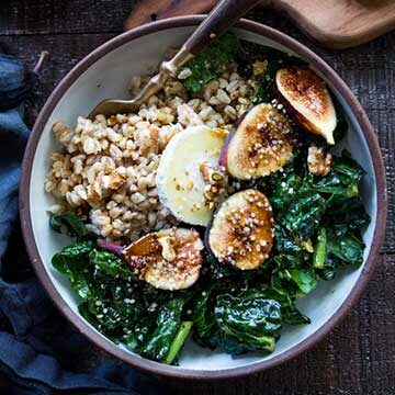 Farro bowl with kale, figs, and maple-mustard dressing recipe by Feasting At Home