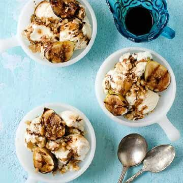 Honey-mascarpone ice cream with balsamic ripple and grilled figs & walnuts by Boulder Locavore