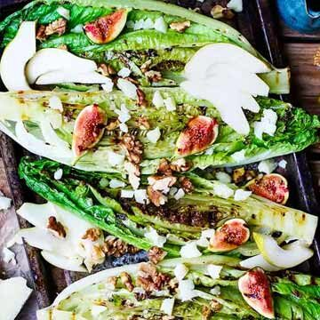 Grilled Romaine hearts with figs, pear, and manchego by Kitchen Sanctuary