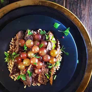 Roasted muscat grape, steak, and farro salad recipe by Ask The Food Geek