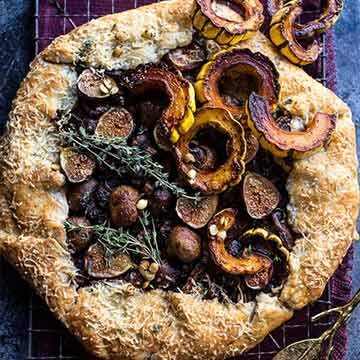 Buttered mushroom, fig, and bacon galette with roasted squash by Half Baked Harvest