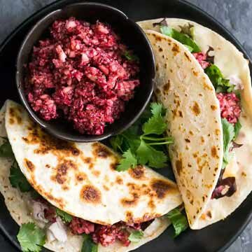 Turkey tacos with cranberry salsa by Simply Recipes